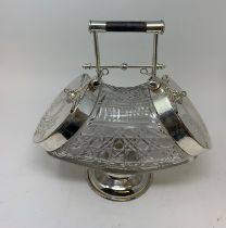 A Victorian style glass biscuit box, with plated mounts, 28.5 cm high Modern