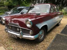 1960 Ford Zodiac Registration number OSV 679 Chassis number 206E306134 Maroon over grey Vinyl and