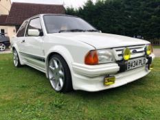 1985 Ford Escort RS Turbo Series 1 Registration number B434 PLD Diamond white with a grey Recaro