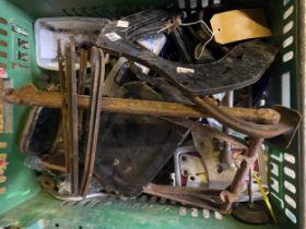 Assorted Velocette spares: Engine plates ,rear stand etc