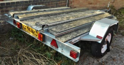 Factory built Paxton three bike galvanised coated steel trailer, fitted with jockey wheel for better