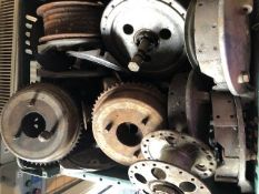 Assorted Velocette spares: Wheel hubs, brake plates and shoes