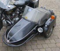 Watsonian GP sidecar with fittings, black, previously attached to a Vincent Rapide