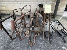 Assorted Velocette spares: Mac frame with forks ,two others and mudguards