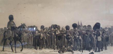After Elizabeth Thompson, The Roll Call, Crimea 1854-55, print, 71 x 120 cm