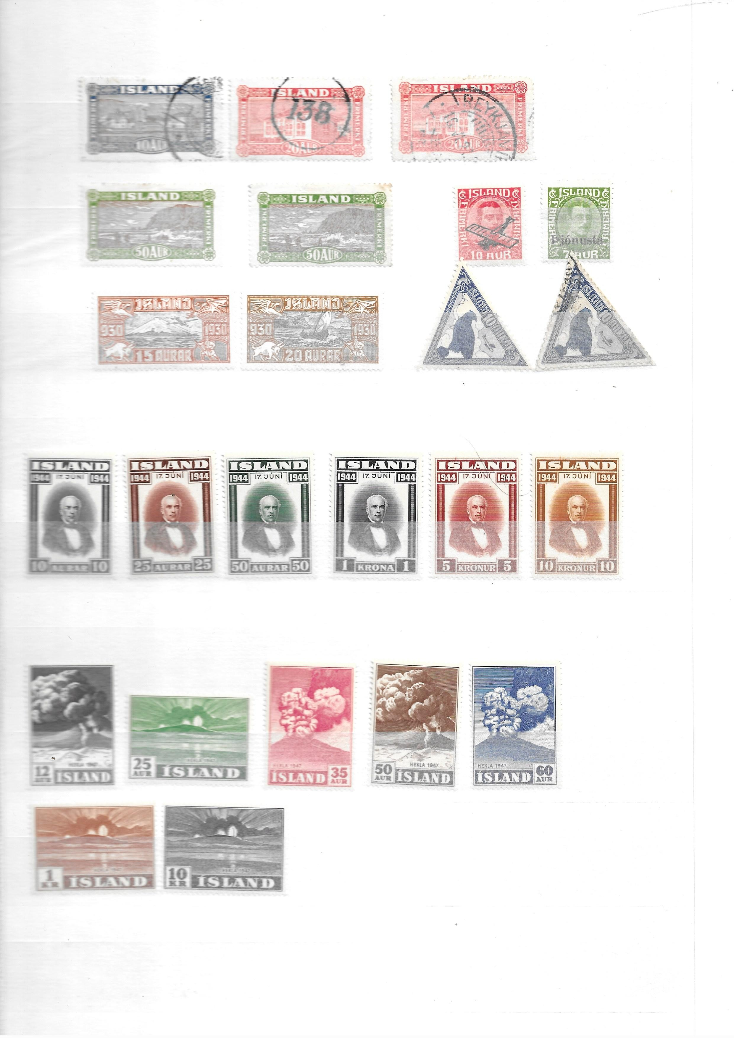 Iceland 1882-1940 unused and used collection on stockcards with sets and better values - Image 4 of 5