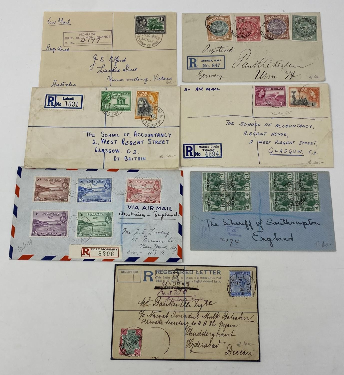 British Commonwealth Postal history selection of 12 attractive covers with Papua, Antiqua, Barbados, - Image 2 of 7