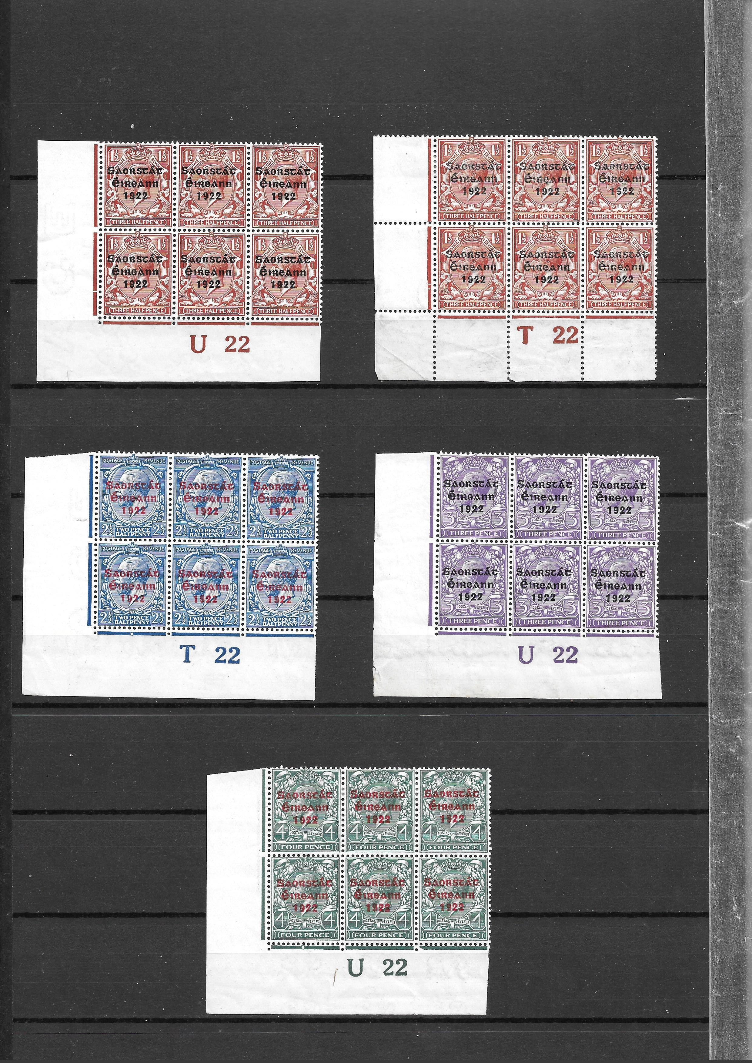 Ireland 1922 GV overprints selection of 21 plate number blocks and strips with values form 1/2d to - Image 2 of 5