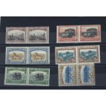 South Africa 1927-30 Pictorial issue 2d, 3d, 1/-, 2/6. 5/-and 10/-hinged pairs, (5/some perf