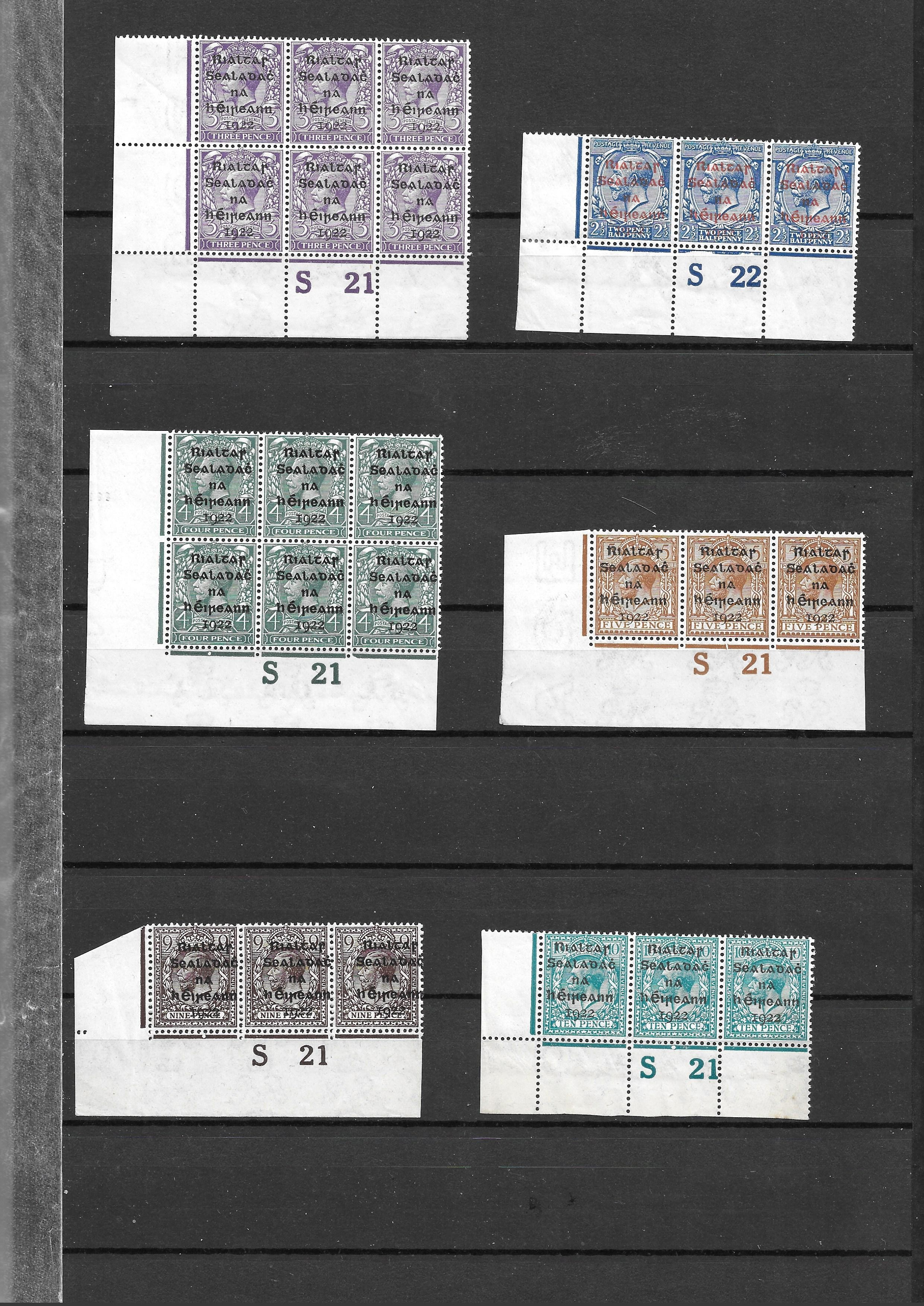 Ireland 1922 GV overprints selection of 21 plate number blocks and strips with values form 1/2d to - Image 5 of 5