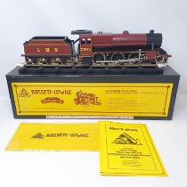 A Bassett-Lowke O gauge 2-6-0 locomotive and tender, in LMS livery, boxed