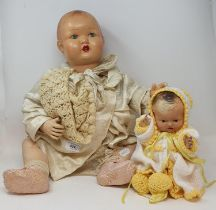 A 1920s baby doll, other dolls and teddies (box) Various losses throughout