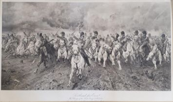 A 19th century print of a battle scene, Scotland For Ever, 40 x 86 cm, and another, 40 x 68 cm (2)
