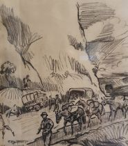 Richard John Munro Dupont (1920-1977) A military scene, with packhorses, charcoal, signed and