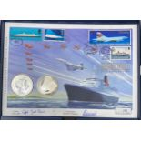 A Westminster Mint Concorde silver coin cover, signed, boxed