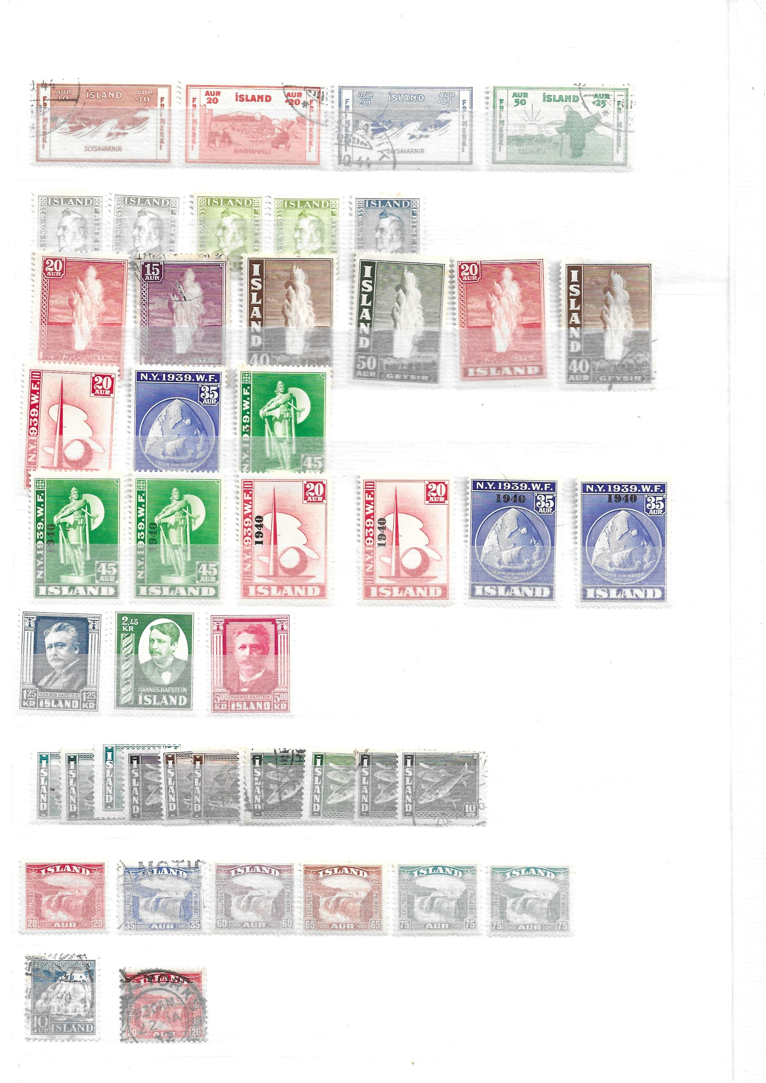 Iceland 1882-1940 unused and used collection on stockcards with sets and better values - Image 5 of 5