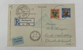 Iceland 1933 registered Zeppelin card from Reykjavic to Germany franked with 30a and 1kr Zeppelin