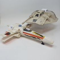 A Star Wars Hoth Snow Speeder, and an x wing (2) Snow Speeder lacking top of battery cover and