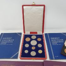 A Queen Elizabeth II ten piece specimen coin set, 1953, boxed, and various other coins