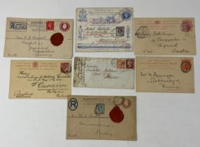 Great Britain Postal history selection (7) including an attractive 1895 uprated 1d QV Jubilee