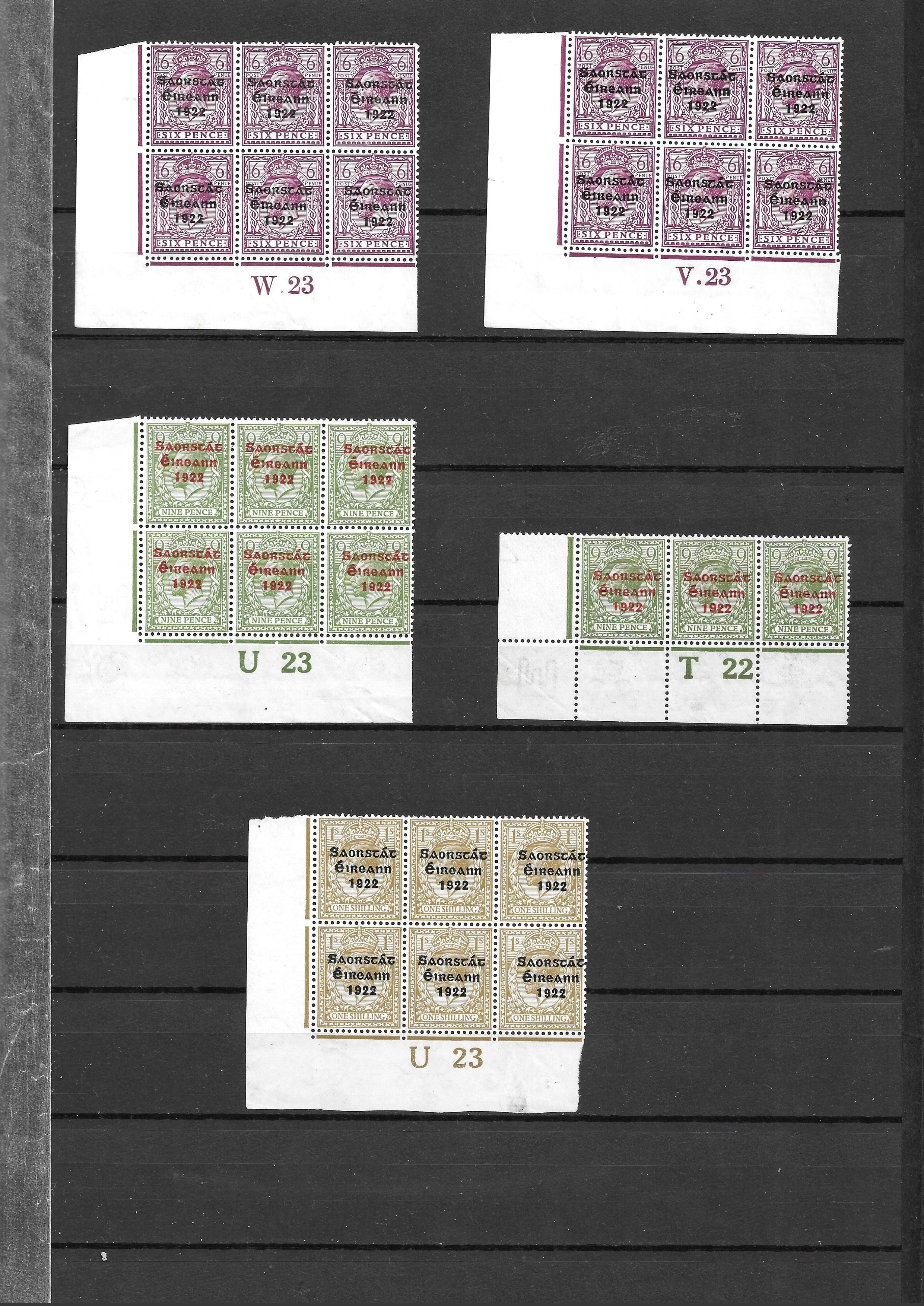 Ireland 1922 GV overprints selection of 21 plate number blocks and strips with values form 1/2d to - Image 3 of 5
