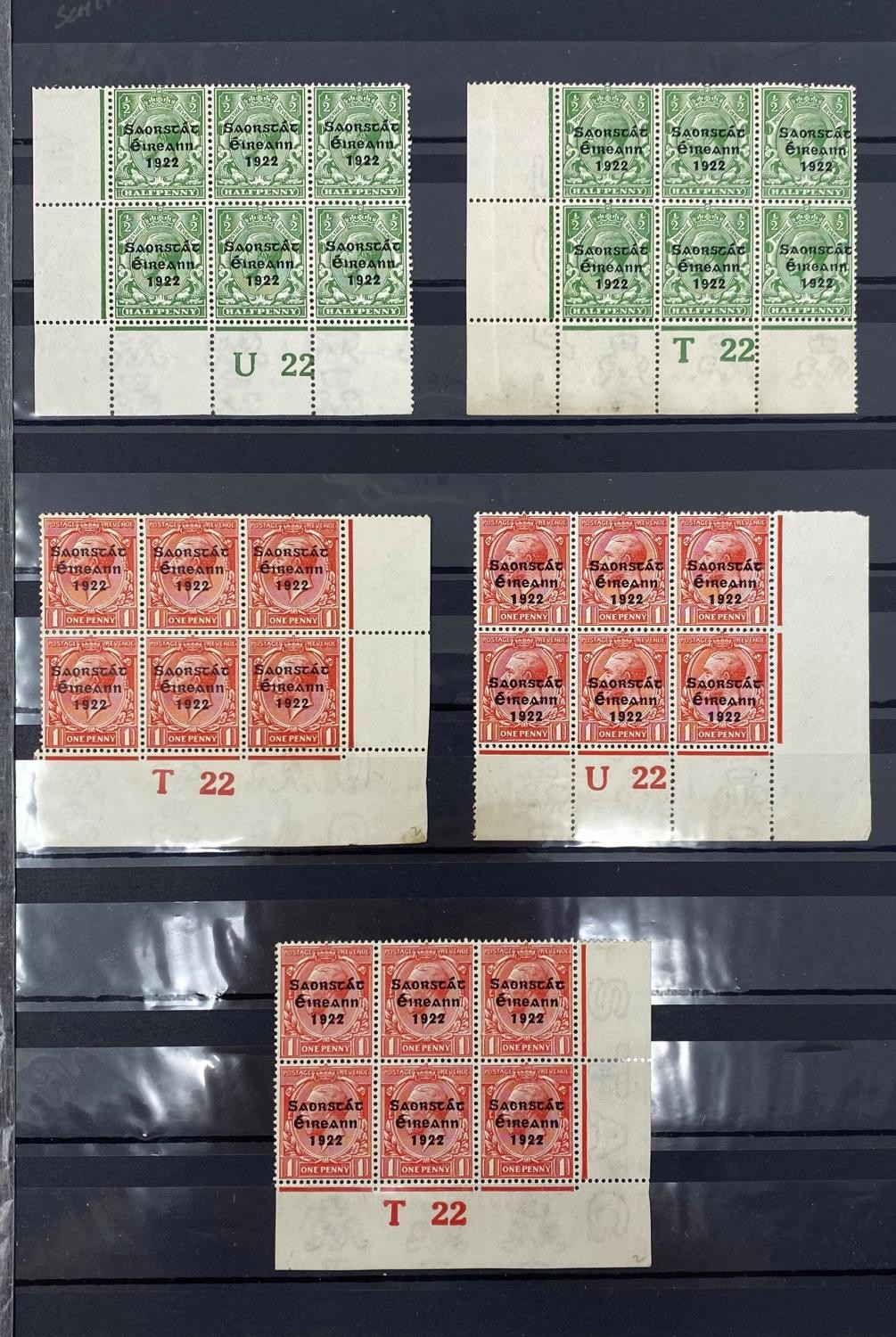 Ireland 1922 GV overprints selection of 21 plate number blocks and strips with values form 1/2d to