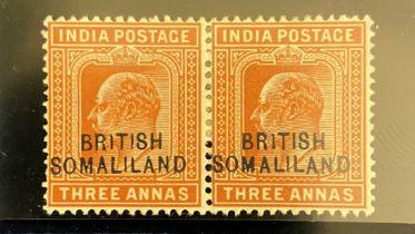 British Somaliland 1903 EdVII 3a fine fresh m/m pair with 'BRITISH' variety SG28a, cat. £275