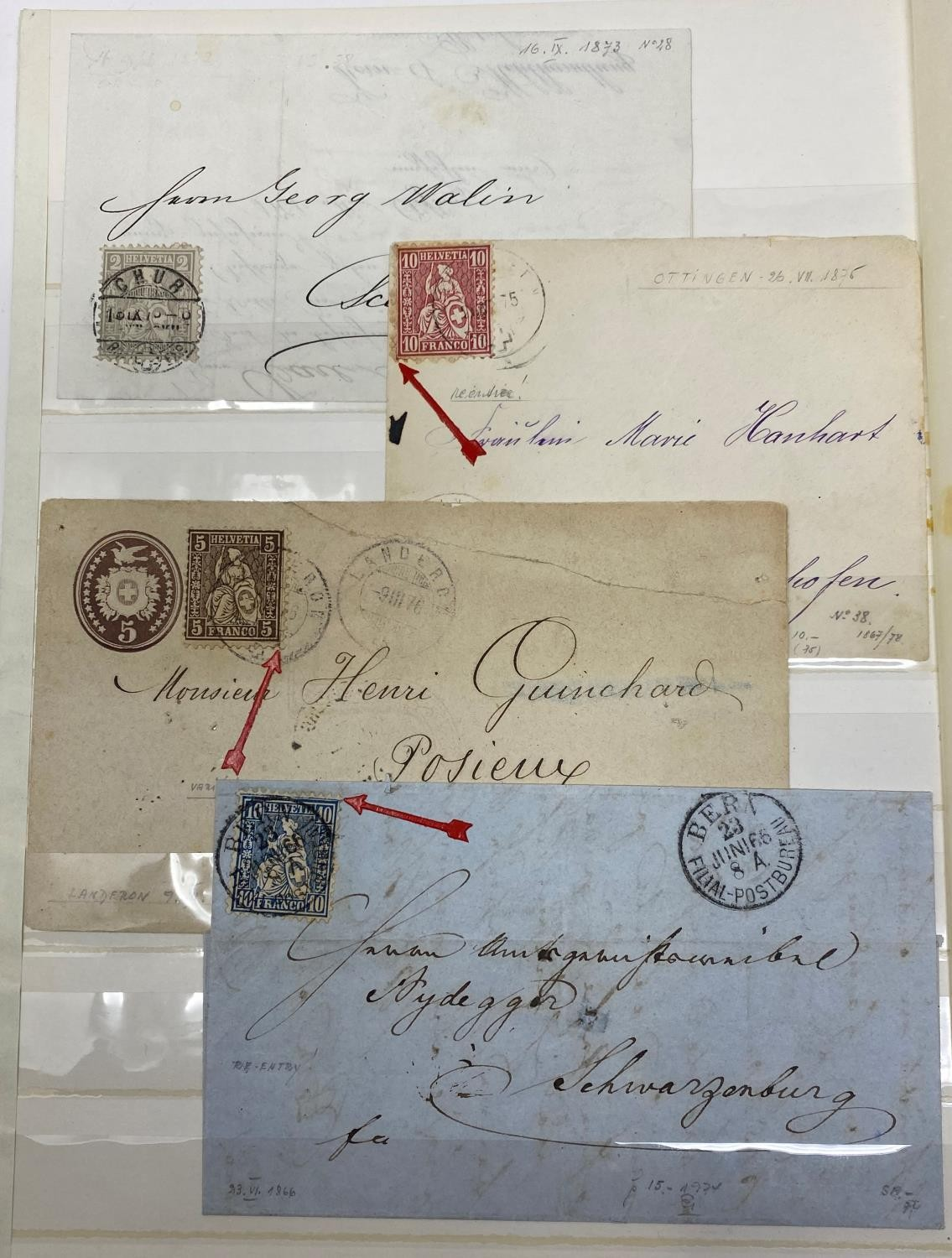 Europe Postal history selection of 35 early items with attractive frankings from Switzerland, - Image 2 of 3