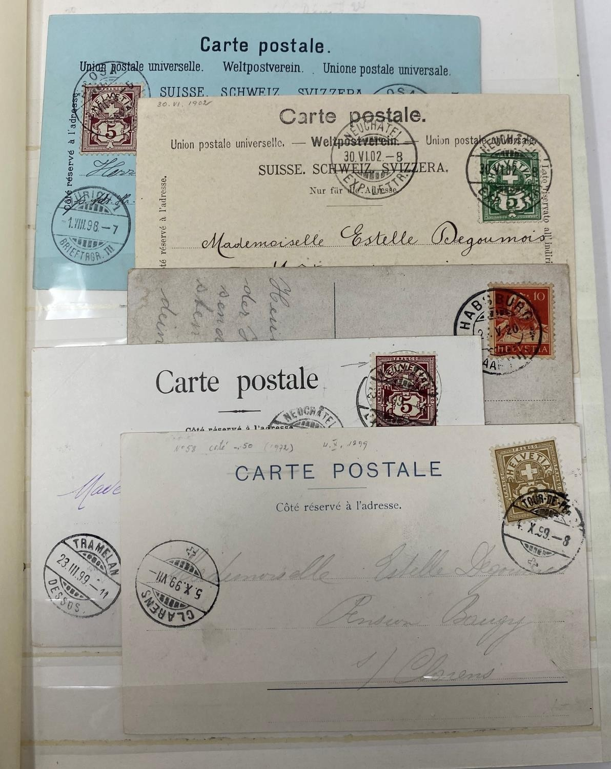 Europe Postal history selection of 35 early items with attractive frankings from Switzerland,