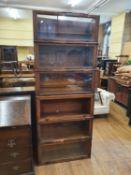 A Globe Wernicke style oak six section bookcase, 86 cm wide