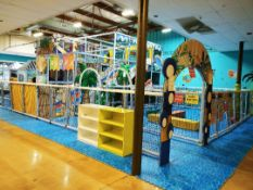 TRI LEVEL JUNGLE GYM SETUP 1800 SQFT WITH A HUGE 4 PERSON SLIDE