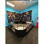 GLASS DISPLAY CASE (QTY 5) TO INCLUDE JAVELIN TOUCH SCREEN INTERCARD REGISTER & ASSORTED PRIZES