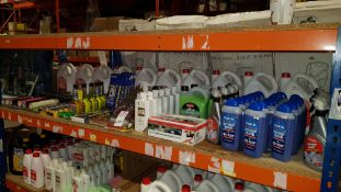 APPROX 120 PIECE ASSORTED LOT CONTAINING BLUECOL DOUBLE IMPACT SCREEN WASH AND DE-ICER, AUTO GLYM