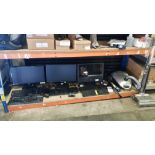 MIXED COMPUTING LOT CONTAINING 3 DESKTOP MONITORS, VARIOUS KEYBOARDS AND MOUSES AND 2 HOOVERS