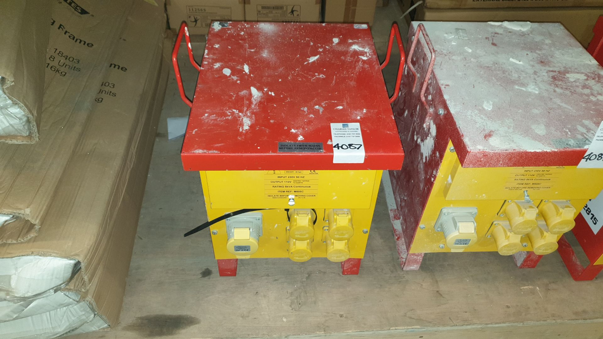 INDUSTRAIL TRANSFORMER INPUT 230 V 50HZ OUTPUT 110 V