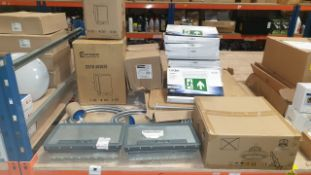 MIXED LOT CONTAINING CMD A20 SERIES FLOW BOX WITH 4 SOCKETS, LUXNA EMERGENCY MULTI MOUNT EXIT