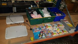 MIXED LOT CONTAINING 2 X CANAON PIXMA PRINTERS, VARIOUS CLEANING PRODUCTS IE KINGFISHER MICROFIBRE