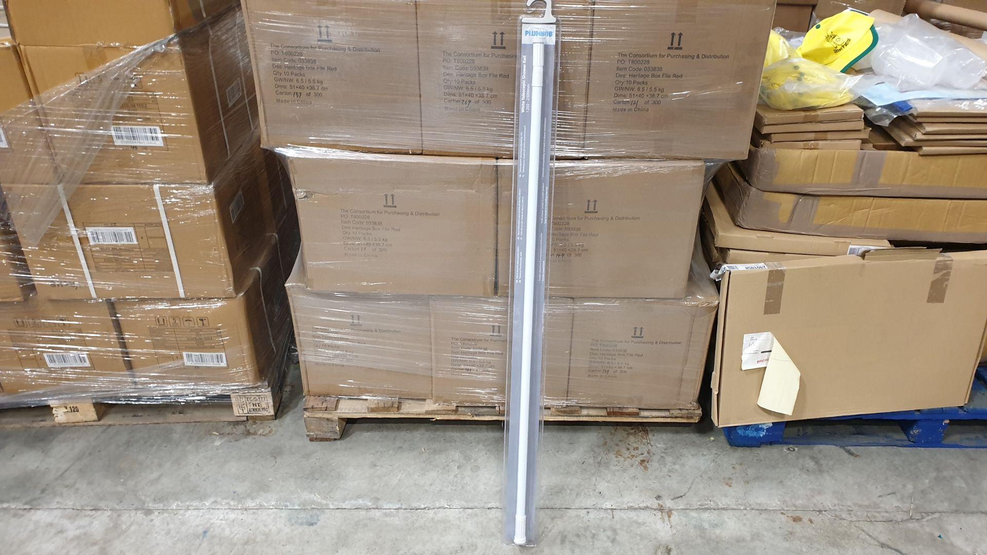 20 X BRAND NEW WHITE TELESCOPIC SHOWER RAILS 1250-2300 MM (PROD CODE 922551) RRP £8.02 EACH (EXC