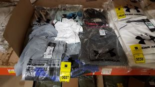 8 X BRAND NEW CLOTHING LOT CONTAINING 1 X JACK & JONES T-SHIFT AND 7 X UNDER ARMOUR SHIRTS AND