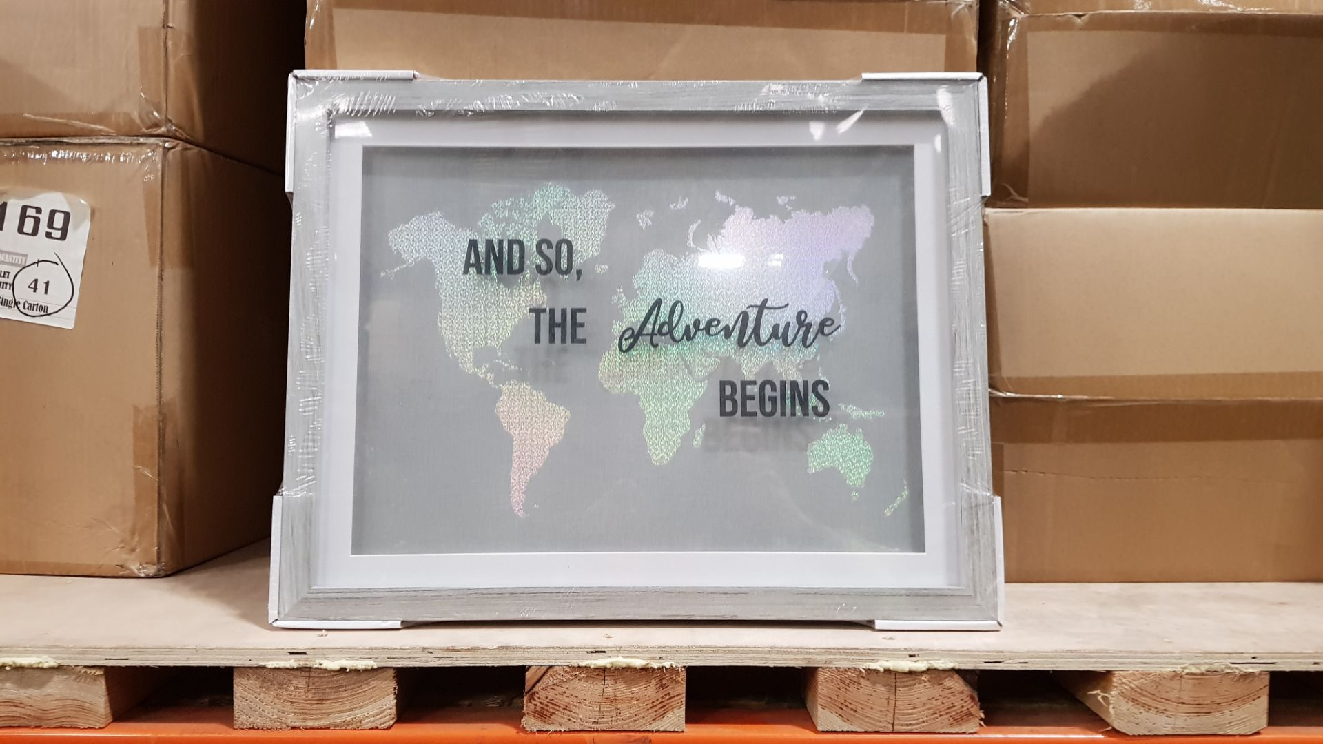 120 X BRAND NEW AND SO THE ADVENTURE BEGINS WORLD FRAMED MAP IN 30 BOXES