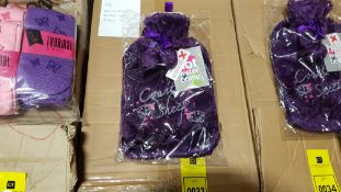 28 X BRAND NEW HOT WATER BOTTLES WITH FLEECE COVERS IN PURPLE