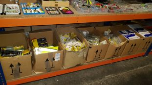 LARGE QUANTITY ASSORTED LOT CONTAINING 100PACK COMFIT LATEX GLOVES, AA ESSENTIALS SNOW CLEATS