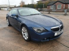 BLUE BMW 645 CI AUTO. Reg : G2OCS Mileage : 91432 Details: WITH 1 KEY, ENGINE SIZE 4398CC, FULL