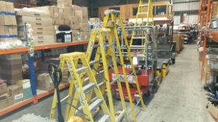 SET OF THREE WINDER LADDERS 1 X 2M 6 TIER LADDER, 1 X 1.7M 5 TIER LADDER AND 1 X 1.5M 5 TIER LADDER