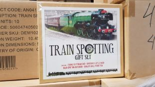 210 X BRAND NEW TRAINSPOTTING GIFT SET CONTAINS FLYING SCOTTSMAN DVD, HARD BACK BOOK AND A QUALITY