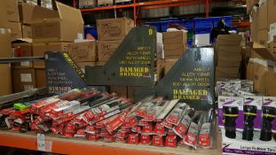 LARGE QUANTITY ASSORTED LOT CONTAINING VARIOUS CAR WIPERS, ALLOY Y-BAR 100MM WHEEL ALLOY DECK AND