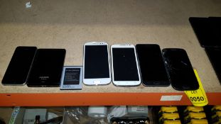 7 PIECE MIXED PHONE LOT CONTAINING SAMSUNG PHONES, HTM PHONES, IPHONE SE, LI-ION BATTERY AND ADATA