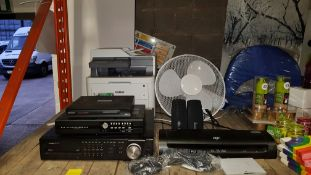 7 PIECE MIXED OFFICE LOT CONTAINING BROTHER COLOURED PRINTER, SWANN DIGITAL VIDEO RECORDER WITH