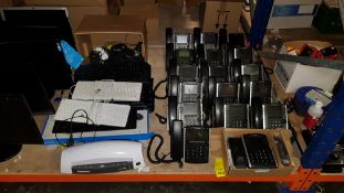 APPROX 40 + PIECE MIXEDOFFICE LOT CONTAINING A LARGE QUANTITY OF POLYCOM OFFICE PHONES, VARIOUS