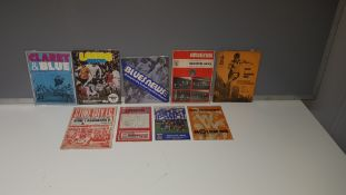 9 X MANCHESTER UNITED AWAY PROGRAMMES FROM THE 1973 SEASON TO INCLUDE - MANCHESTER UNITED VS